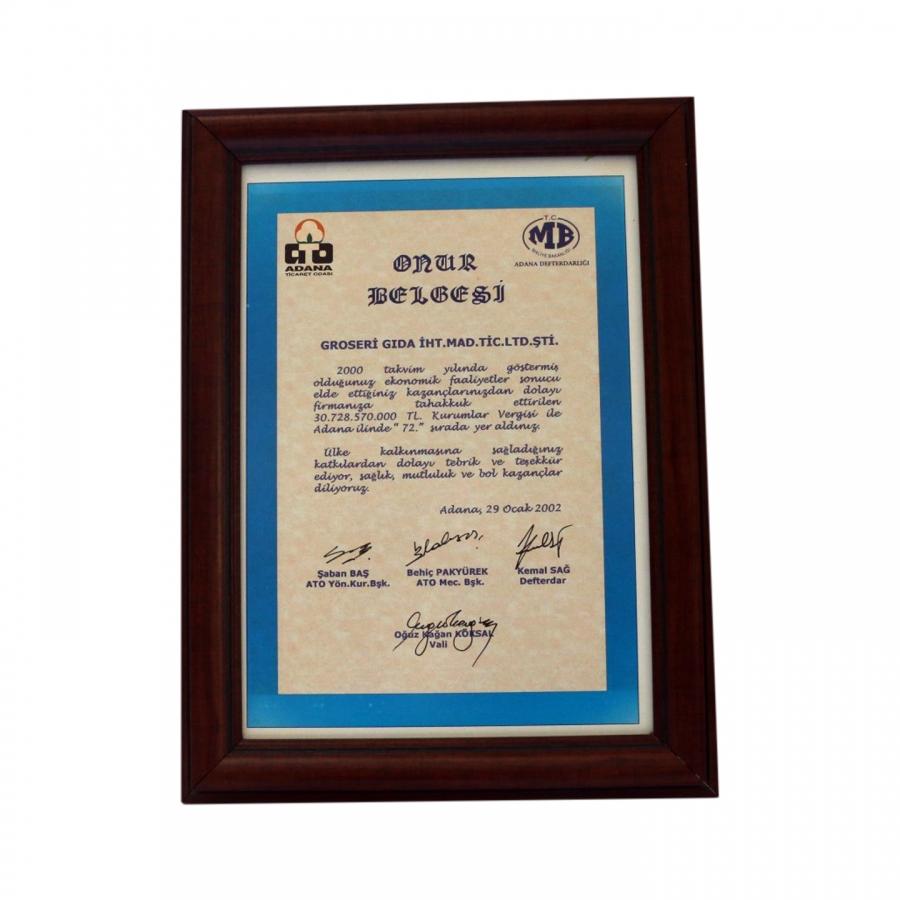 2000 Yılında Adana Ticaret Odasının firmamıza takdim ettiği onur belgesi