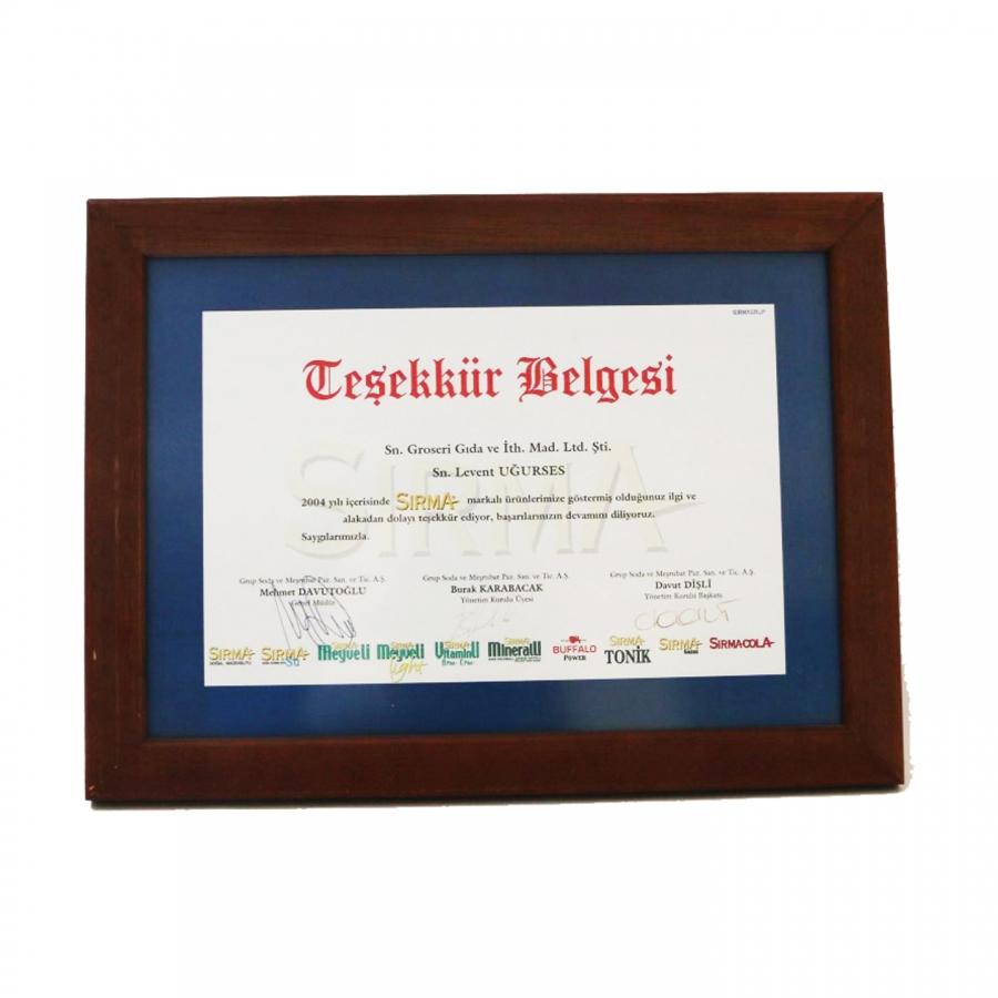 2004 Yılında Sırma firması ile firmamızın gerçekleştirdiği güzel işbirliklerine istinaden teşekkür plaketi