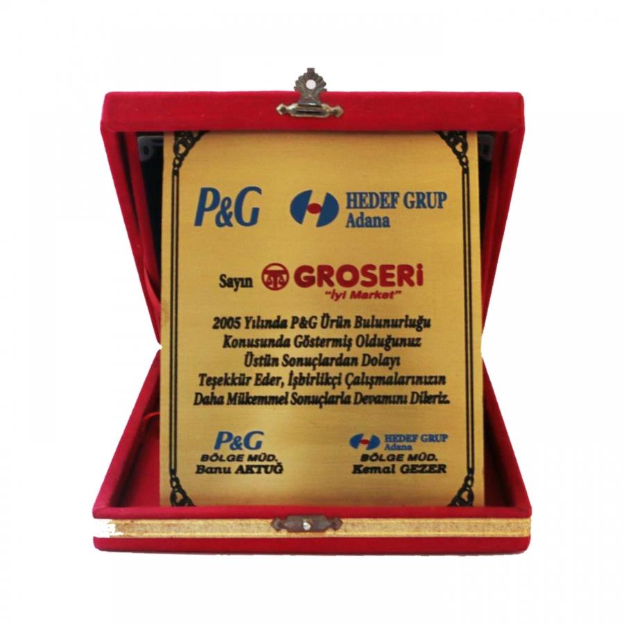 2005 Yılında P&G firması ile firmamızın gerçekleştirdiği güzel işbirliklerine istinaden teşekkür plaketi