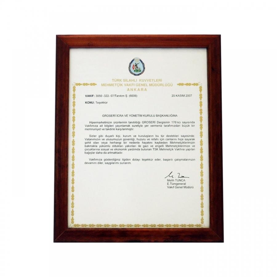 2007 Yılında Türk Silahlı Kuvvetlerine gerçekleştirmiş olduğumuz bağışa istinaden firmamıza takdim edilen teşekkür belgesi