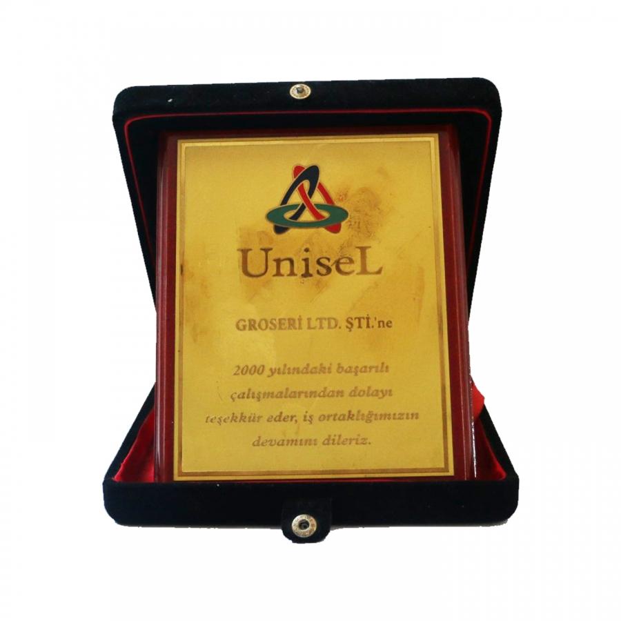 2007 Yılında Unisel firması ile firmamızın gerçekleştirdiği güzel işbirliklerine istinaden teşekkür plaketi