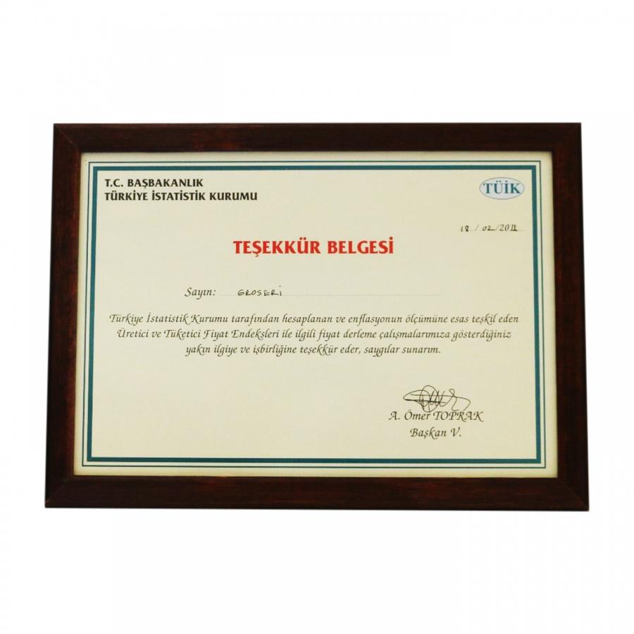 2011 Yılında Başbakanlık Devlet İstatistik Enstitüsü tarafından firmamıza takdim edilen teşekkür belgesi
