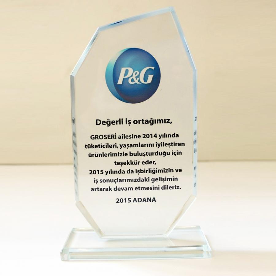 2015 Yılında P&G ile firmamızın gerçekleştirdiği güzel işbirliklerine istinaden teşekkür plaketi
