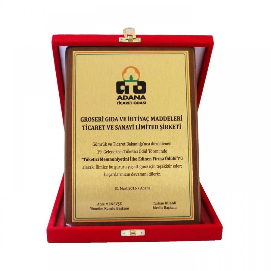 2016 Yılında Adana Ticaret Odası tarafından,  19. Geleneksel Tüketici Ödül Töreninde firmamıza takdim edilen