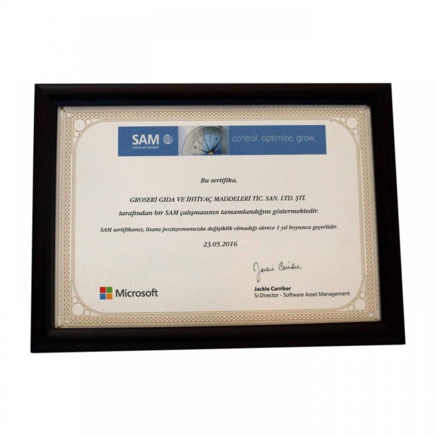 2016 yılında firmamızın aldığı SAM sertifikası