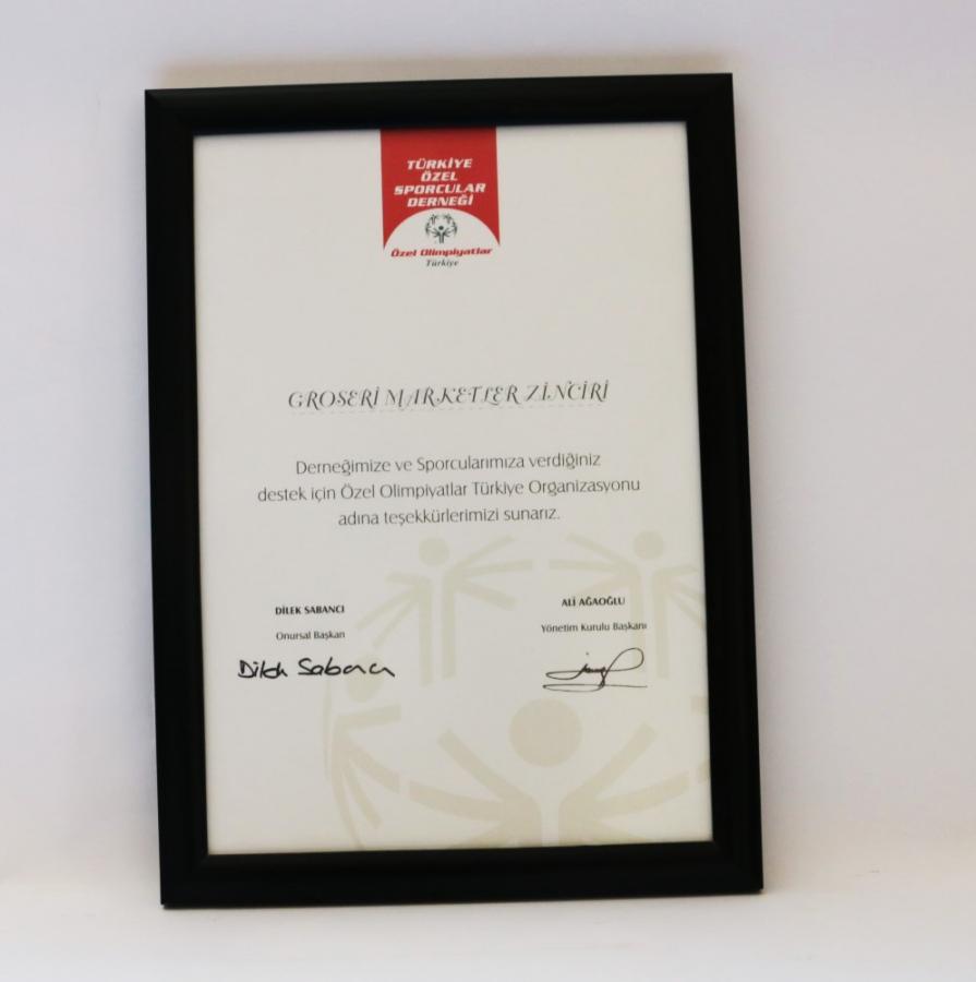 Özel Olimpiyatlar Türkiye derneğine gerçekleştirilen sponsorluk nedeniyle firmamıza takdim edilen teşekkür belgesi