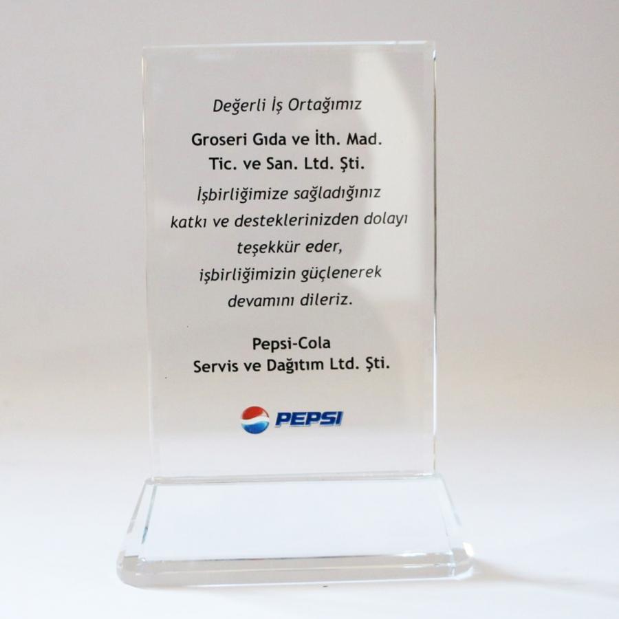 Pepsico firması ile firmamızın gerçekleştirdiği güzel işbirliklerine istinaden teşekkür plaketi