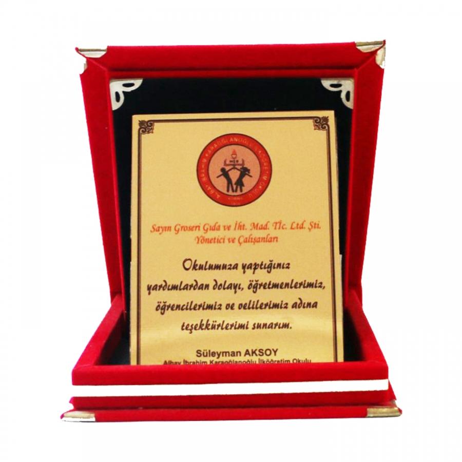 Sponsorluk desteğinde bulunduğumuz Albay İbrahim Karaoğlanoğlu okulumuzun firmamıza teşekkür plaketi